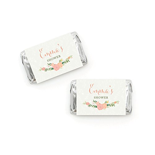 Andaz Press Floral Roses Girl Baby Shower Collection, Personalized Chocolate Minis Labels, Fits Hershey