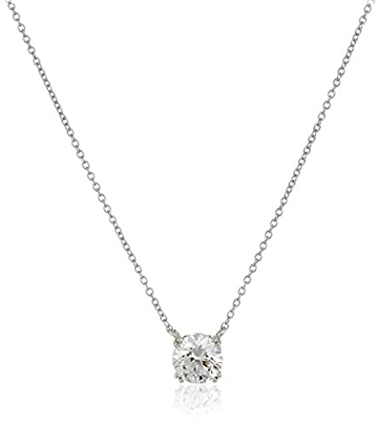 Platinum-Plated Sterling Silver Swarovski Zirconia Round Solitaire Pendant Necklace, 2cttw - Swarovski Engraved Necklace