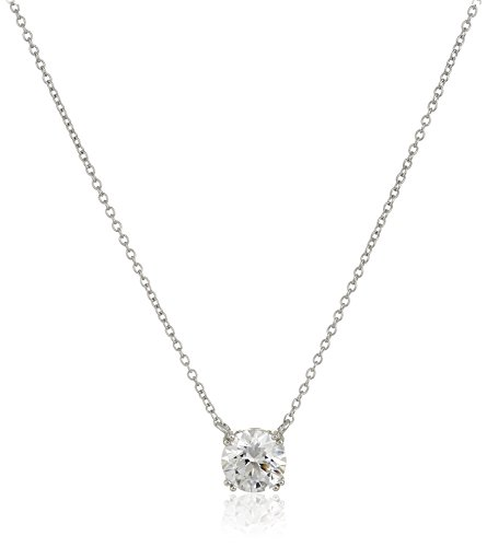 Platinum Plated Sterling Silver Solitaire Pendant Necklace set with Round Cut Swarovski Zirconia (2 cttw), 18