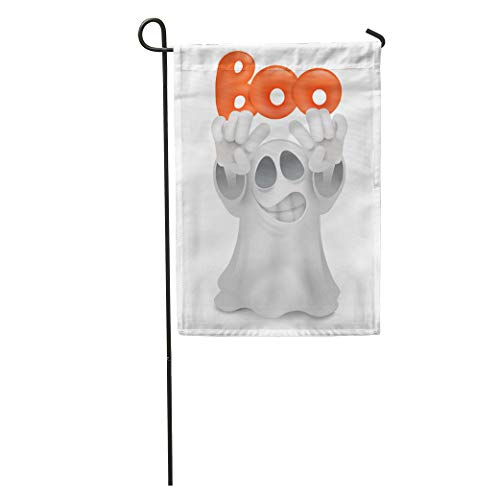 Semtomn Garden Flag Costume Cartoon Ghost Emoji Character Boo Title Creepy Cute Emoticon Home Yard House Decor Barnner Outdoor Stand 12x18 Inches Flag]()