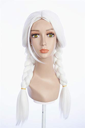 HangCosplay: Mama Coco Inspired Snow White Long braided pigtails with Long Inclined Bangs Prestyled Cosplay Fancy Wig for Women (Girl Fantasy Wig)