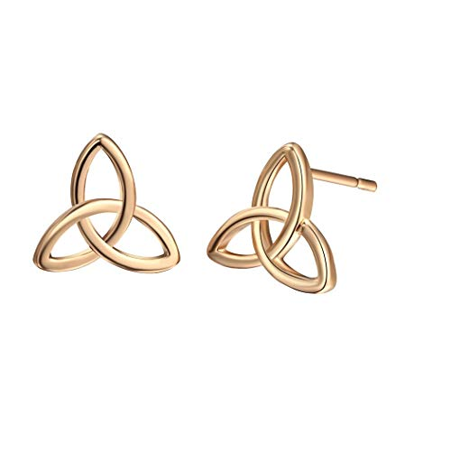 Celtic Triquetra Triangle Knot Stud Earrings Gold Silver Plated Viking Nordic Luck Irish Jewelry-gold