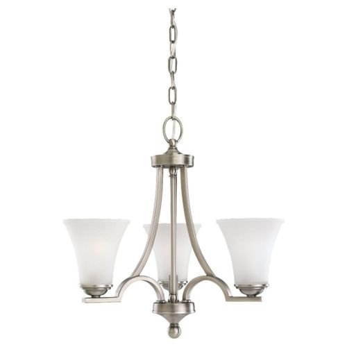 Sea Gull Lighting 31375-965 Three-Light Somerton Chandelier with Satin Glass Etched Glass, Antique Brushed Nickel Finish