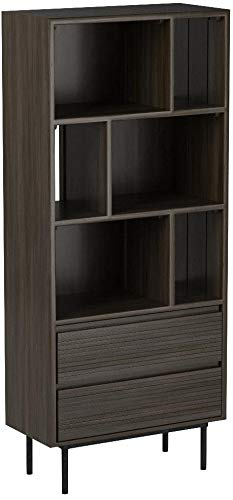 Rivet Stevens Modern Bookcase, 27.56''W, Acacia, Brushed Tundra Gray by Rivet (Image #8)