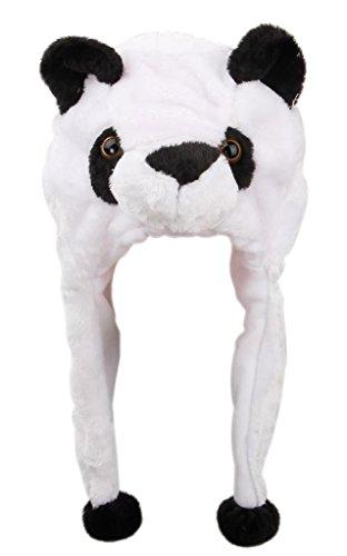 EOZY White Black Panda Warm Fuzzy Multifunctional Ear Flap Aminal Beanie