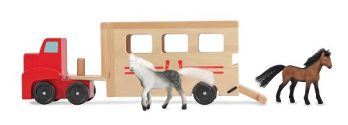 (Melissa & Doug Horse Carrier Wooden Vehicle Play Set With 2 Flocked Horses and Pull-Down)