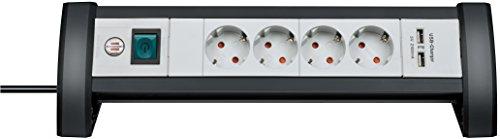 Brennenstuhl Steckdosenleiste mit USB-Ladefunktion 4-fach schwarz/lichtgrau, 1156250514