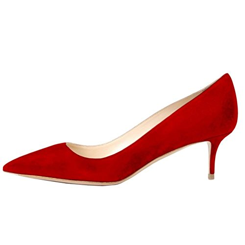 Pan Rossa Dress Lavoro Suede Heel Verni Punta suola Caitlin Party Da Pompe Donna A Scarpe Ciata Red 65mm Kitten Pelle BOSHqxdw