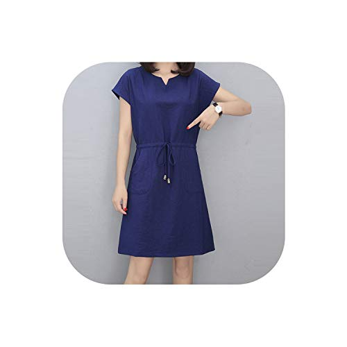 QianQianStore Women V-Neck Short Sleeve Pockets Casual Short Mini Dress Summer Ladies Loose Dress,Navy Blue,L ()