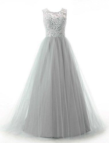 Bridesmaid Prom Gown A Dress Tulle Bridal Amore Long Silver line Women's xn8wTI8UqR