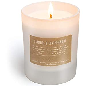 Premium-Scented-Candles-Soy-Candle-Relaxing-Pair-of-Oakmoss-Leather-Noir-45-Hour-Burn-Long-Lasting-Highly-Scented-Natural-Soy-Candles-Aromatherapy-Candles-in-Frosted-White-Glass-Jar-8-oz