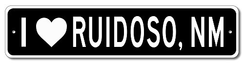 I love RUIDOSO, NEW MEXICO - Custom US City Name and State Aluminum Sign - Black - 6