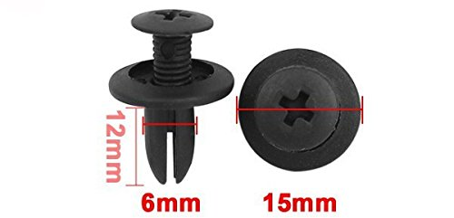 20PCS 6mm Hole Plastic Push Screw Rivet Panel Fixings Clips Black for Car Auto (Kitchenaid Mixer Bolt compare prices)