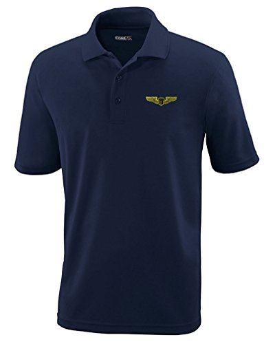 Air Force Pilot Badge - Air Force Pilot Badge Embroidery Design Polyester Performance Polo Shirt Navy 2X-Large