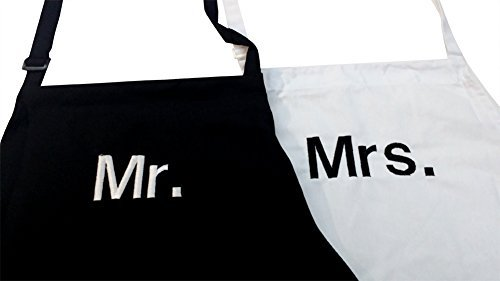 Chef White Adult Personalized (Mr. & Mrs.) Block Apron Set Adjustable Wedding Bridal Shower