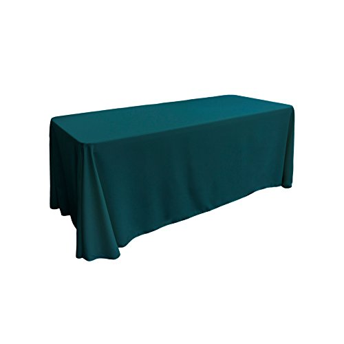 LA Linen Polyester Poplin Rectangular Tablecloth, 90 by 132-Inch, Teal Dark (Teal Table Cloth Linen)