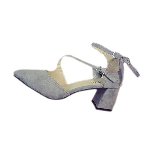 Tacones de bloque de Fashion simple sandalias Ante Piel Ankle-Strap punta dedos de los pies sandalias zapatos confortables All-Match Gris - gris