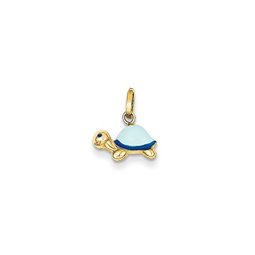 14K Yellow Gold Enameled Turtle Charm (12mm x 10mm) 14k Yellow Gold Turtle Charm