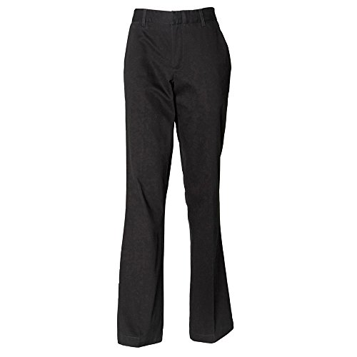 Ladies Trousers Flat Black Henbury Front OgPxnwpqg