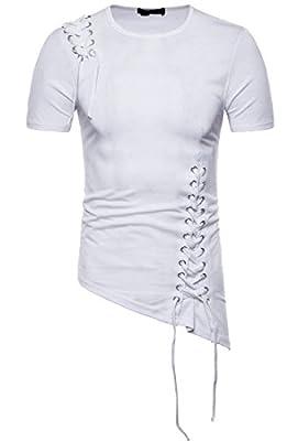 Domple Men's Stylish Lace up Tie Short Sleeve Asymmetric Hip-Hop Punk T-Short