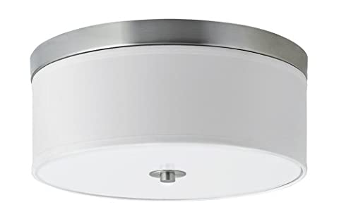 Linea di Liara Occhio 15-Inch Two-Light Ceiling Fixture, Brushed Nickel with a White Fabric Shade, Flushmount LL-C252-BN