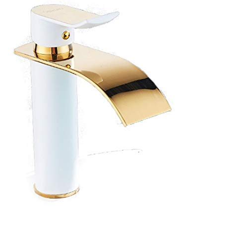 Marcu HOME Taps Copper Hot And Cold Basin Faucet gold-Plated Paint Bathroom Wash Basin Heightening Waterfall Faucet A