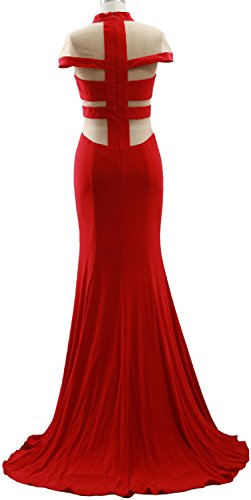MACloth Mermaid High Neck Jersey Prom Gown Cap Sleeves Evening ...