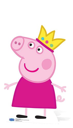 (Star Cutouts Official SC959 Crown Mini Cardboard Cutout Peppa Pig Party 90cm Tall, Multicolour)