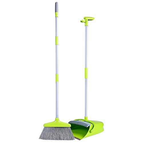 Broom and Dustpan Set, Dustpan with Long Handle Broom Combo Set, Upgraded Lobby Broom & Dustpan Combo, Upright Grips Sweep Set with Broom - Lobby Dust Pan Broom