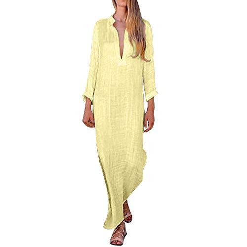 LISTHA V Neck Cotton Linen Maxi Dress Women Plus Size Cross Shirts Long Dress