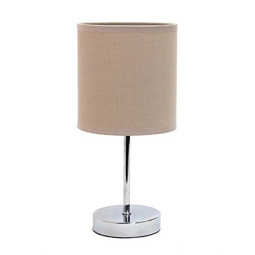 e-finished Iron 40-watt 1-light Mini Basic Table Lamp With Grey Fabric Drum Shade, Sturdy Iron Material (1 Light Mini Table Lamp)
