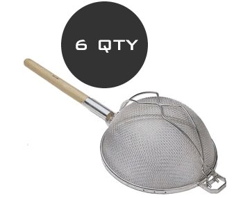 HALF DOZEN WOOD HANDLE 14'' ROUND STRAINER - WHOLESALE QTY