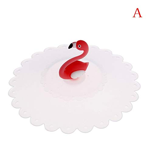 (Tea Tureen - Creative Flamingo Anti Dust Tea Cup Cover Silicone Leakproof Coffee Lid Cap Heat Resistance - Tureen Tureen Decor Flamingo Party Coffee Electric Color Latte Flamant Rose Plastic)