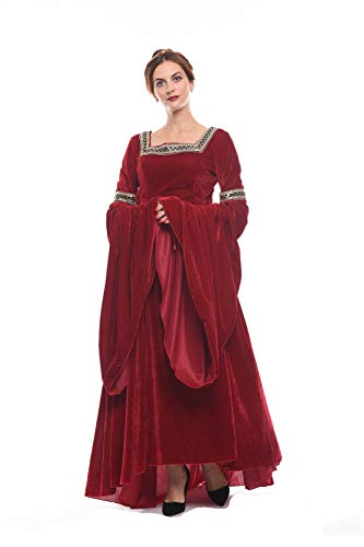 NSPSTT Women Medieval Renaissance Dress Victorian Cosplay Costume Long Sleeve (Small, Red) -