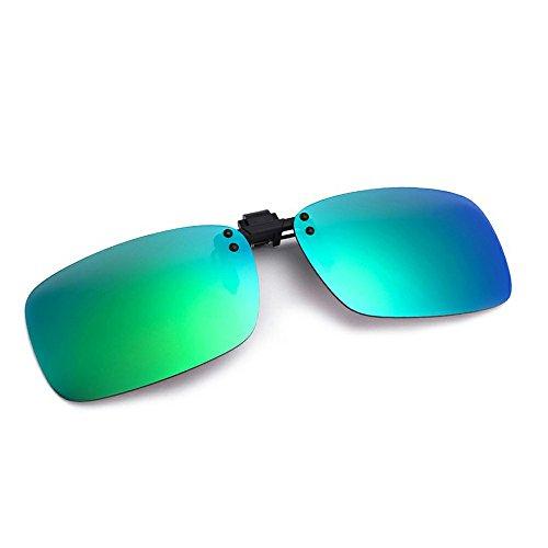 Cyxus Flash Polarized Mirrored Sunglasses Clip-On Glasses, Men & Women [Green - Components Sunglasses
