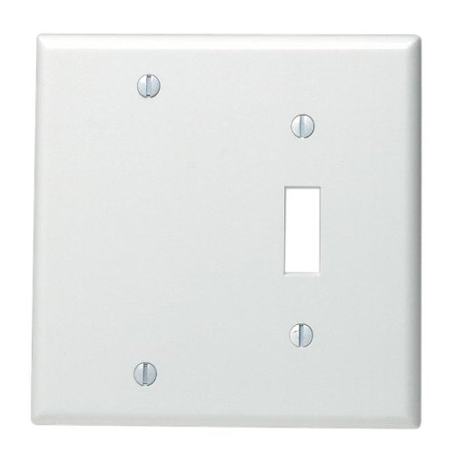 Wall Single Duplex Gang Plate - Leviton 88006 002-000 1-Toggle 1-Blank Standard Size Wall Plate, 2 Gang, 4.5 in L X 4.56 in W 0.22 in T, Standard White