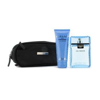 Versace Man Eau Fraiche by Versace for Men 3 Piece Set Includes: 3.4 oz Eau de Toilette Spray + Perfumed Bath & Shower Gel +Toilettry Bag