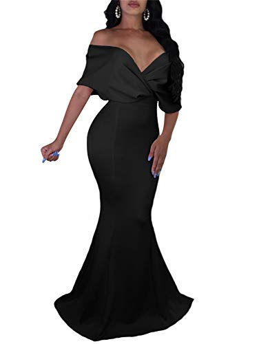 (GOBLES Women Sexy V Neck Off The Shoulder Evening Gown Fishtail Maxi Dress (XL, Black))