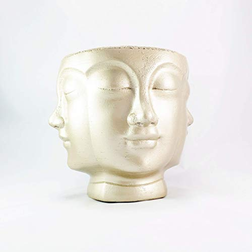 Concrete Multi Face Head Planter Gold - All Seeing Buddha