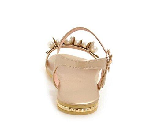 32 Les Fleurs 41 Appartements Sandales école Jours Tous 1cm pour Shopping Perles d'été xie Gold 41 Dames Confortables de CwHq1xZ