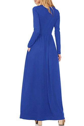 Sleeves Blue Long Waist Mop Women's Flexible YMING Stretchable Dress Long pxWtnwqz