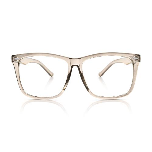5zero1 Fake Big Frame Clear Glasses For Women Men Fashion Classic Retro Costumes Party Halloween, Clear Gray