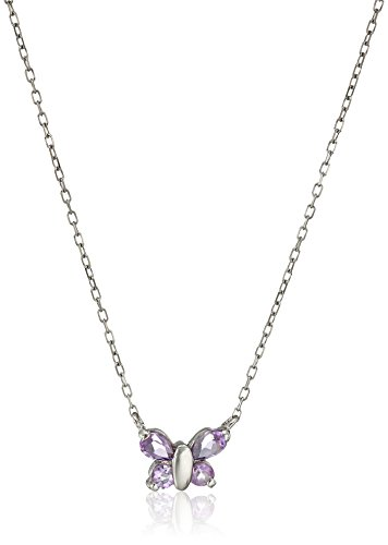 Sterling Silver Amethyst Butterfly Pendant - 7
