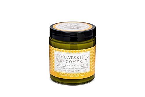 - Catskills Comfrey: Arnica & Calendula, 4oz - trifecta of nature's most potent healing medicinals; anti-inflammatory, anti-bacterial (tattoo/surgery healing, rosacea, psoriasis, eczema, sunburn, acne)