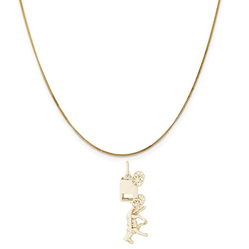 - Rembrandt Charms 14K Yellow Gold Amish Wagon Charm on a 14K Yellow Gold Curb Chain Necklace, 18