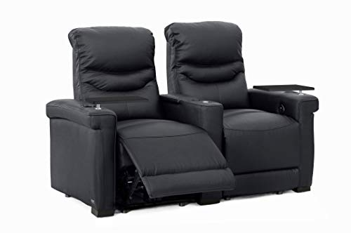 Octane Challenger XS700 Black Leather Home Theater Seating (Set of 2)