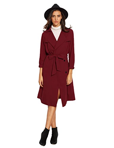 UPC 613894740046, Verdusa Women's Long Sleeve Wrap Trench Coat with Belt Burgundy M