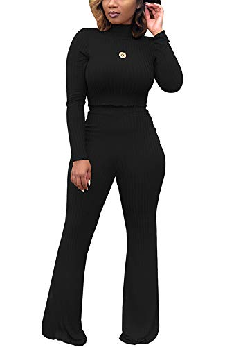 Women Two Piece Outfits - Long Sleeve High Neck Crop Top Bell Bottom Pants Matching Set Jumpsuit Black -