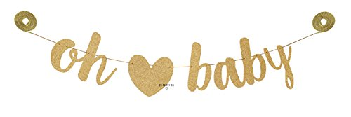 (CC Party Co. OH BABY Gold Glitter Baby Shower Banner with Removable Heart on Gold Twine | baby shower pregnancy announcement | gender reveal party decorations | neutral boy girl)