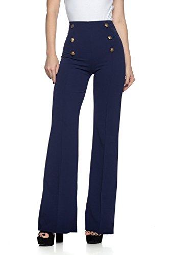 Cemi Ceri Women's J2 Love High Waist Sailor Bell Bottom Flare Pants, Medium, Navy Navy Pants